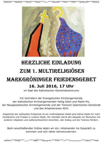 Herzliche Einladung zum multireligiösen Friedensgebet am 16. Juli